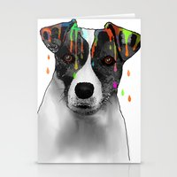 jack russell Stationery Cards featuring Jack Russell Dog BW by Marlene Watson