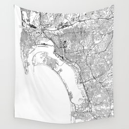 San Diego White Map Wall Tapestry