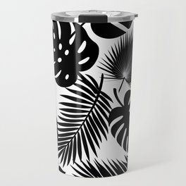 Tropical Leaves - Black on White Travel Mug