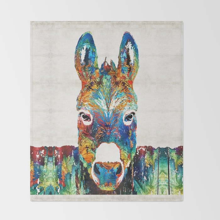 Colorful Donkey Art - Mr. Personality - By Sharon Cummings Throw Blanket