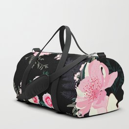 Beautiful Vintage Black Floral Pattern Duffle Bag