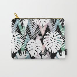 Blush pink green white hand painted tropical leaves chevron Carry-All Pouch