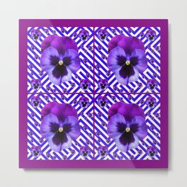 DECORATIVE LILAC PURPLE PANSIES  FLOWERS Metal Print