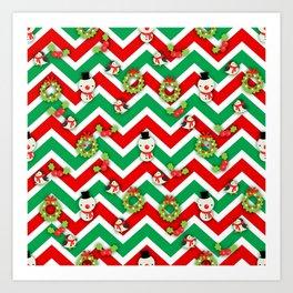 Festive Christmas Cartoons on Chevron Pattern Art Print