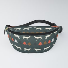Ethnic deer pattern with Christmas trees Fanny Pack