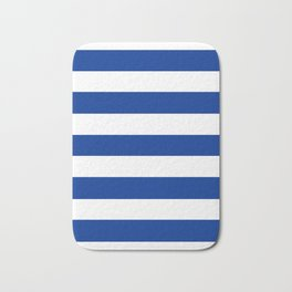 Air Force blue (USAF) -  solid color - white stripes pattern Bath Mat