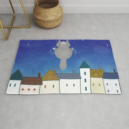 Cat and town Rug