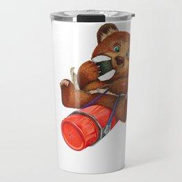 A little bear having a picnic lunch Travel Mug