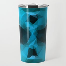 psychedelic skull art geometric triangle abstract pattern in blue and green Travel Mug
