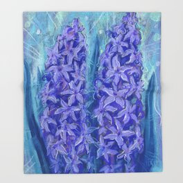 Hyacinths, blue and violet Throw Blanket