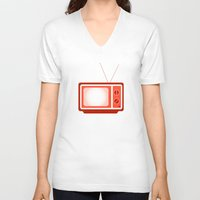 tv V-neck T-shirts featuring television by brittcorry
