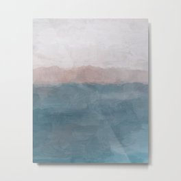 Turquoise Aqua Blue Coral Rose Pink Gray Abstract Painting, Modern Wall Art, Ocean Sunset Sand Wave Metal Print