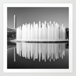 Henry Wollman Bloch Fountain and Liberty Memorial - Square Monochrome Art Print