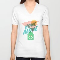 home alone V-neck T-shirts featuring Home Alone by Nick Nelson