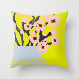 Pink Blooms in Blue Vase No 02 Throw Pillow