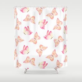 Hand Painted Pink Coral Watercolor Pretty Butterflies Shower Curtain