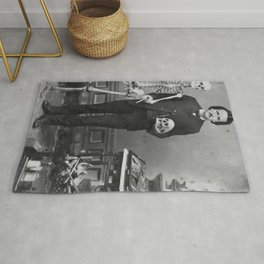 Edgar Allan Poe with Skull and Skeleton macabre black and white photograph Rug