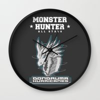 monster hunter Wall Clocks featuring Monster Hunter All Stars - The Dondruma Hurricanes by Bleached ink