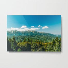 Carpathian Mountains Landscape, Summer Landscape, Transylvania Mountains, Travel In Romania Metal Print