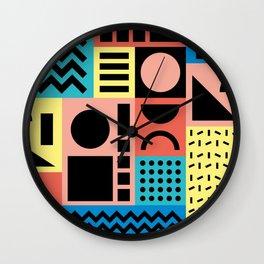 Neo Memphis Pattern 1 - Abstract Geometric / 80s-90s Retro Wall Clock