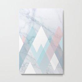 Snowy Peak on Marble Metal Print
