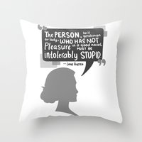 jane austen Throw Pillows featuring [Jane Austen] Book Lover by samarasketch