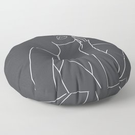 Minimal Line Art of a Woman Floor Pillow