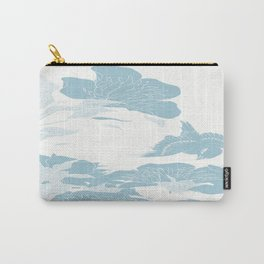 japanese Flowers White and Blue Carry-All Pouch