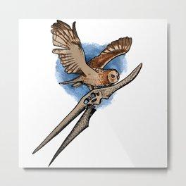 Present Meets Past - Owl Metal Print