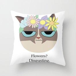 Grumpy Flower Crown Cat Throw Pillow