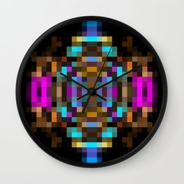 geometric square pixel abstract in blue orange pink with black background Wall Clock