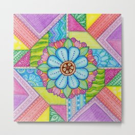 Patchwork Square Flower Metal Print