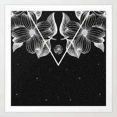 BLACK FLORA Art Print