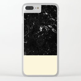 Light Blush Yellow Meets Black Marble #1 #decor #art #society6 Clear iPhone Case