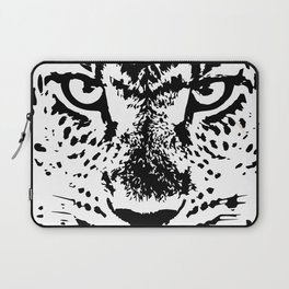 Black and White Leopard Big Wild Cat Laptop Sleeve