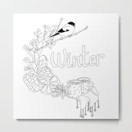 Winter dreams (line art) Metal Print