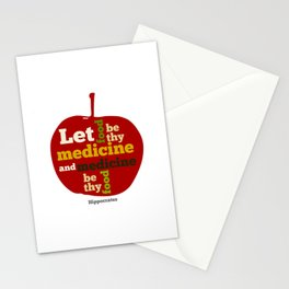 Apple Let food be thy medicine and medicine be thy food. Stationery Cards
