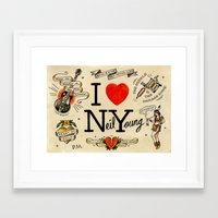 neil young Framed Art Prints featuring I Heart NY (Neil Young) by Phillip Marsden