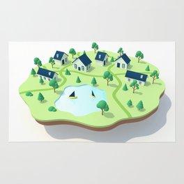Isometric town illustration. Rug