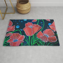 Stylized Red Poppies Rug