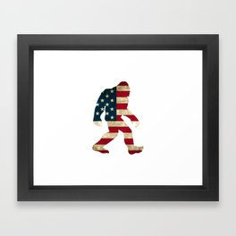 Bigfoot american flag Framed Art Print