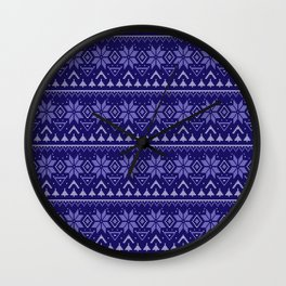 Knitted Christmas pattern in blue Wall Clock