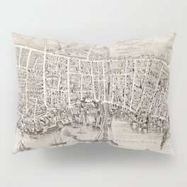 Vintage Pictorial Map of Newburyport MA (1894) Pillow Sham