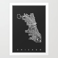 chicago map Art Prints featuring CHICAGO MAP by Nicksman