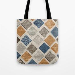 Tuscan Tiles Dark Orange and Gray Tote Bag