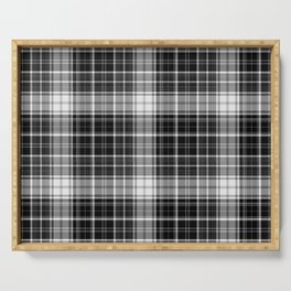 in mono plaid dark Serving Tray