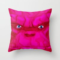 quibe Throw Pillows featuring Post-it Portrait: Ben Grimm by quibe