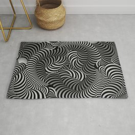 Black and White Striped 3D Illusion Rug