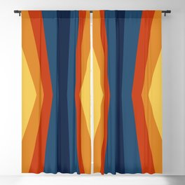 Bright 70's Retro Stripes Reflection Blackout Curtain