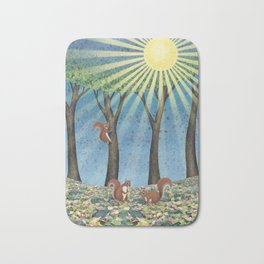 sunshine squirrels Bath Mat